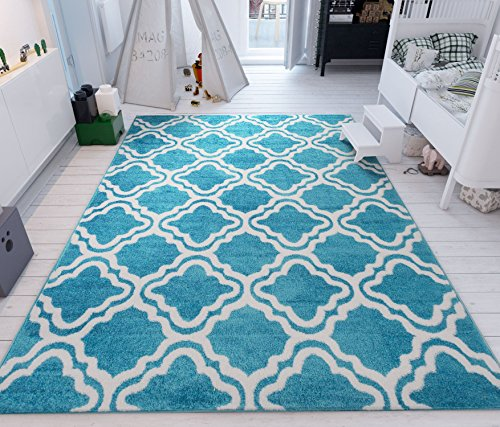Modern Rug Calipso Blue 7'10''X10'6'' Lattice Trellis Accent Area Rug Entry Way Bright Kids Room Kitchn Bedroom Carpet Bathroom Soft Durable Area Rug