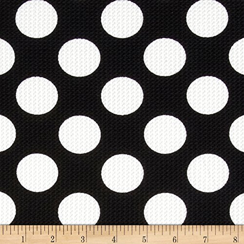 [Telio Paola Pique Knit Large Dots Black/Ivory Fabric By The Yard] (Pique Knit Fabric)