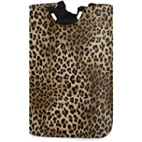 ZZKKO Animal Leopard Laundry Basket Large Tote Collapsible Organizer Lightweight Oxford Laundry Hamper Foldable Clothes…