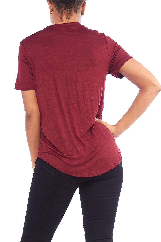 594f14882f9 Womens Loose Fashion Criss Cross V Neck Shape Short Sleeves Top RT60976 (S