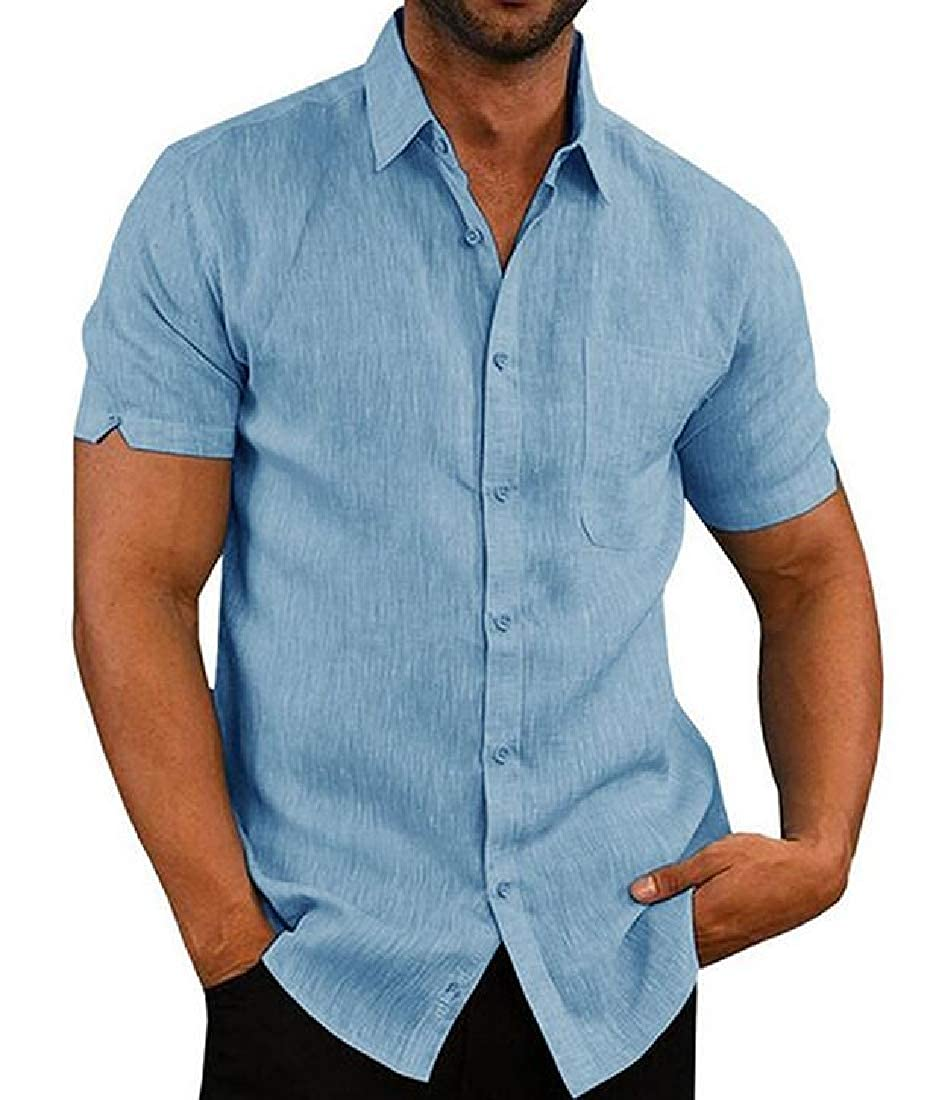 Fensajomon Mens Chest Pocket Solid Casual Cotton Button Down Short Sleeve Shirts