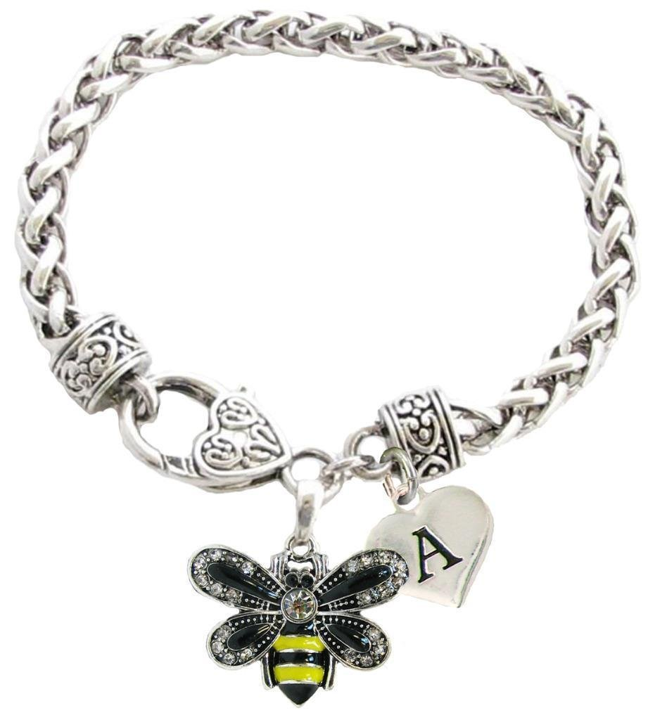 Custom Yellow Black Bumble Bee Silver Bracelet Jewelry Choose Initial 26 letters