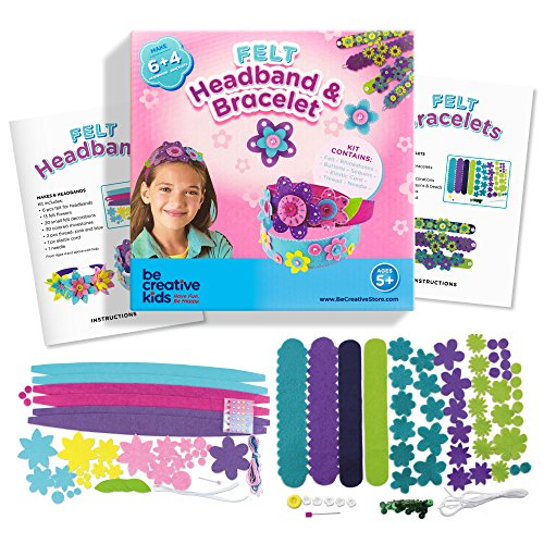 Bracelet and Headband Kit for Smarter, Happier Children. Kids Crafts for girls 5+. Easy Jewelry Craft Kits with 4 Bracelets & 6 Headbands.