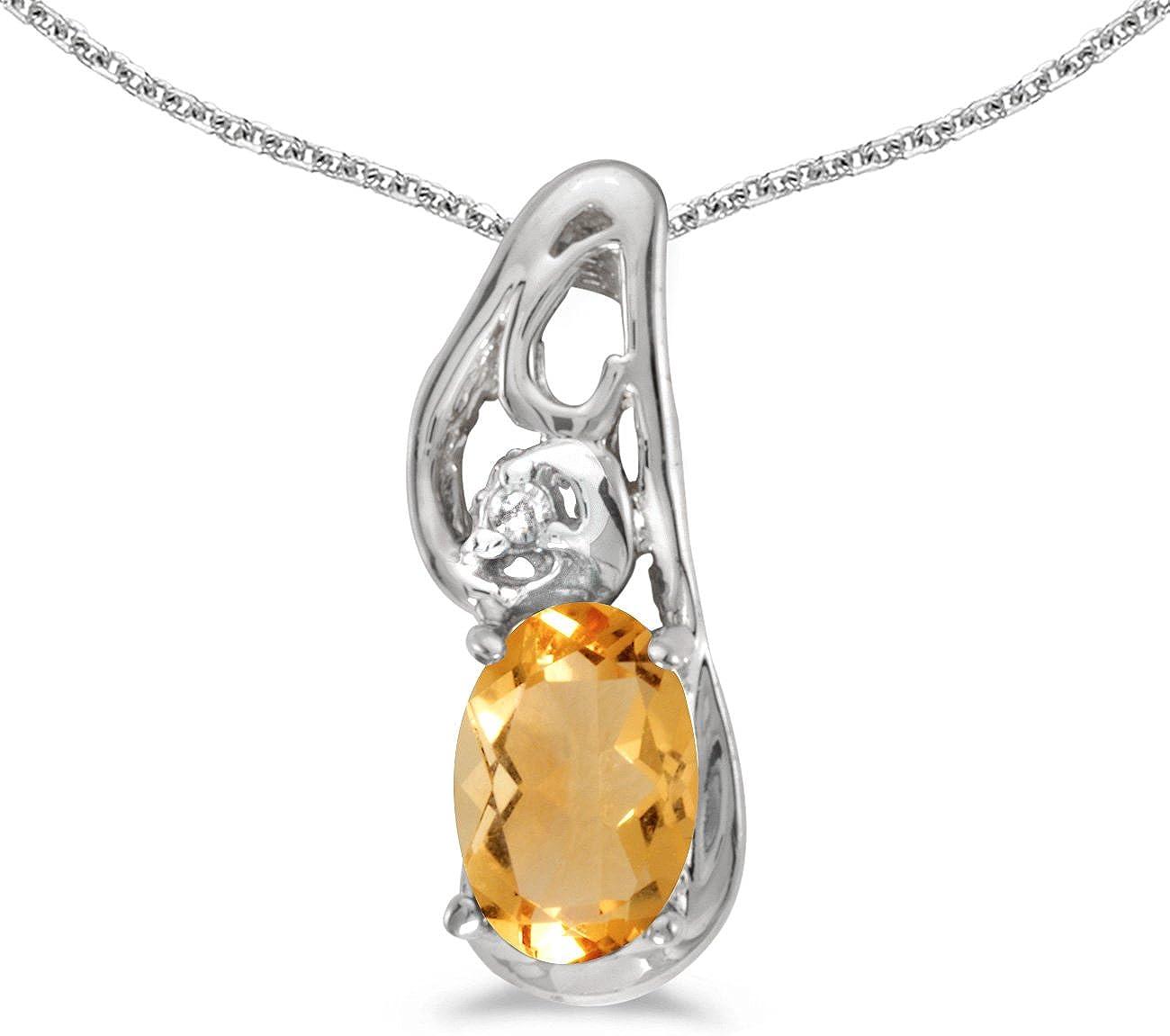 10k Yellow Gold Oval Garnet And Diamond Pendant