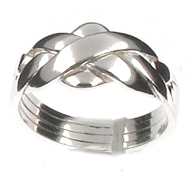 925 Sterling Silver 4pc Puzzle Ring Ring 0MNtU3k