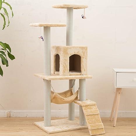 MERRYHOME Torre del gato de madera que rasca del poste que juega el centro de la