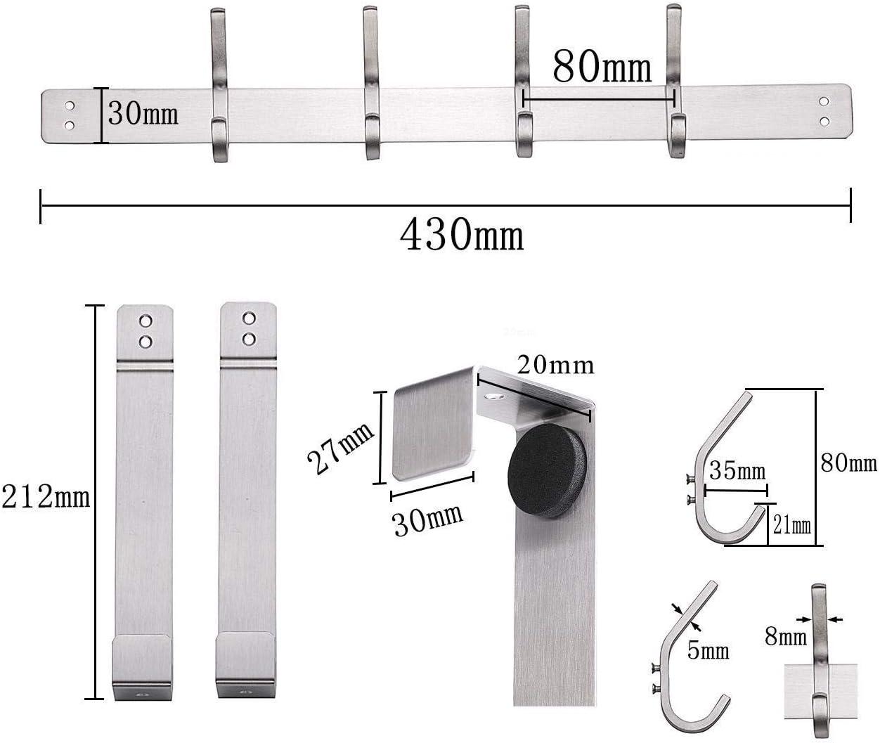 8.6 cm 4.1 cm Bademantelhaken mit 6 Haken Hakenleiste T/ürh/ängeleiste T/ürgarderobe Edelstahl Cupcinu T/ürhaken Edelstahl 43.5 cm