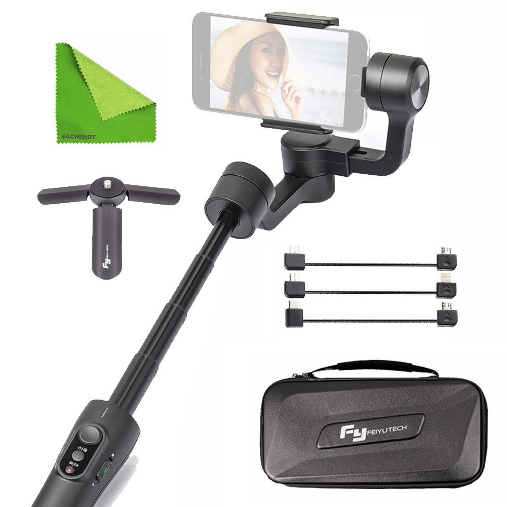 FY FEIYUTECH Feiyu Vimble 2 Stable Selfie Stick Travel Gimbal Handheld Stabilizer Built-In Extender for Smartphone Like iPhone X 8 Plus 7 6 SE Samsung Galaxy S9+ S9 S8+ S8 Note 8 S7 S6 Q2 edge Black