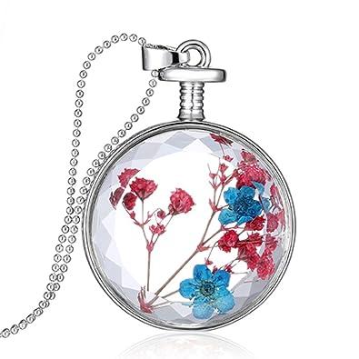 Botella De Vidrio Flotante Ronda Rosa Collar Azul Cadena De Plata Flores Secas