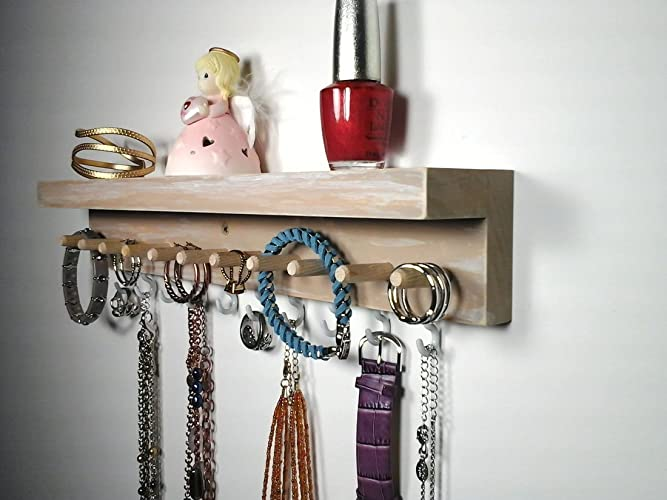 Amazoncom Jewelry Organizer Wall Mount Jewelry Holder with Shelf