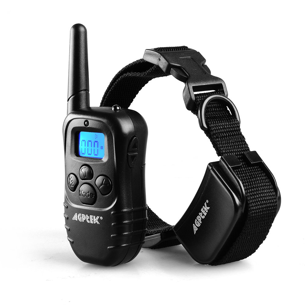 【Upgraded version】AGPtek® Waterproof Wireless Rechargeable LCD digital Dog Training Shock Collar with 100LV of Shock and Vibration, Remote Control (Collar Waterproof)