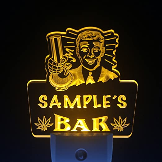 wstp-tm Name Personalized Custom Marijuana High Life Bar Beer Day/ Night Sensor LED Sign