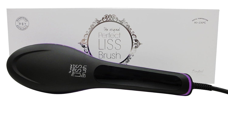 Cepillo Alisador de Pelo Eléctrico Profesional Iónico Perfect Liss Brush Negro-Morado By AGV: Amazon.es: Belleza