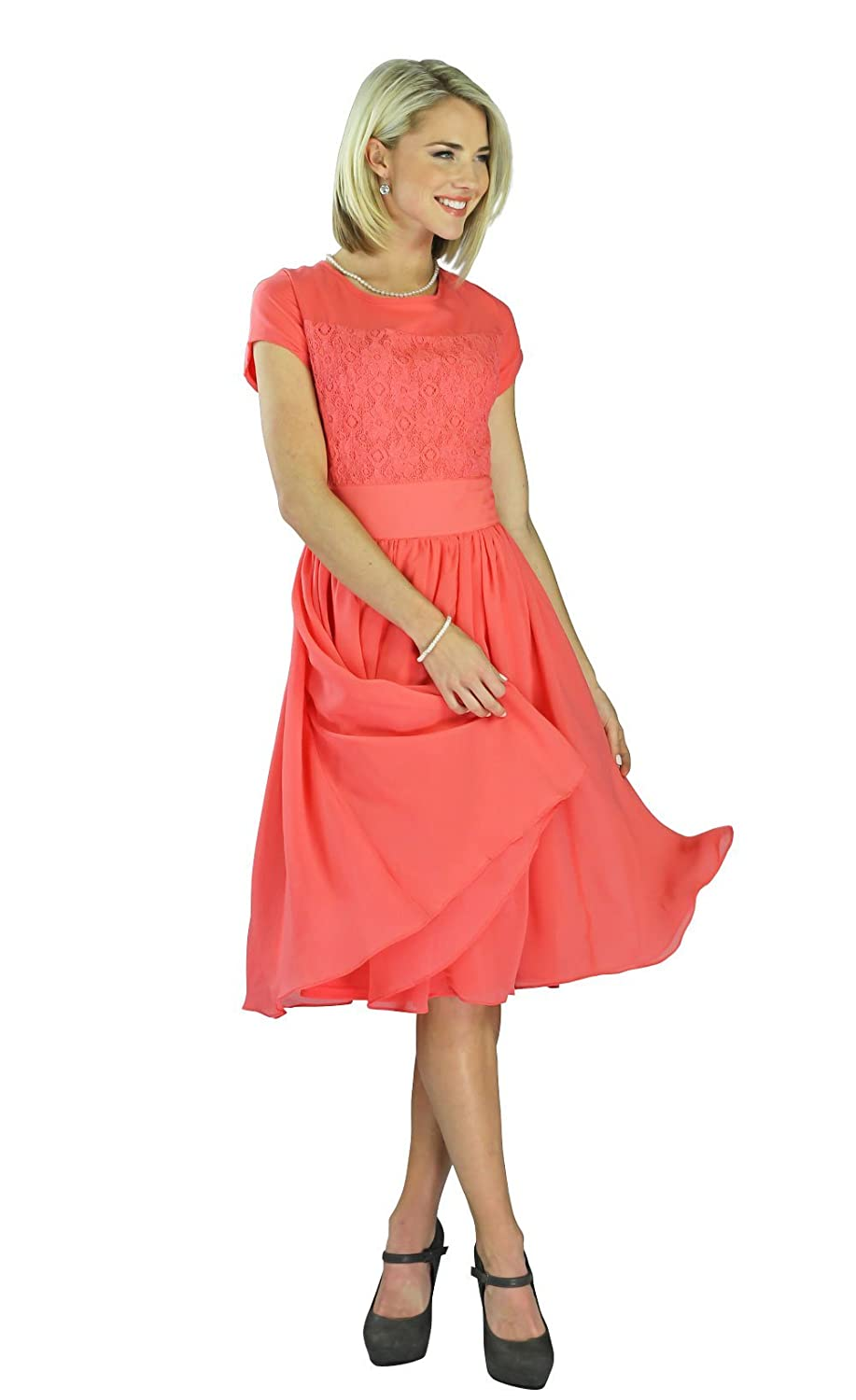 527e577aa25b Beautiful Modest Semi-Formal Dress with lace bodice & chiffon skirt. Modest  knee-length dress with short sleeves; fully lined so no need for a slip