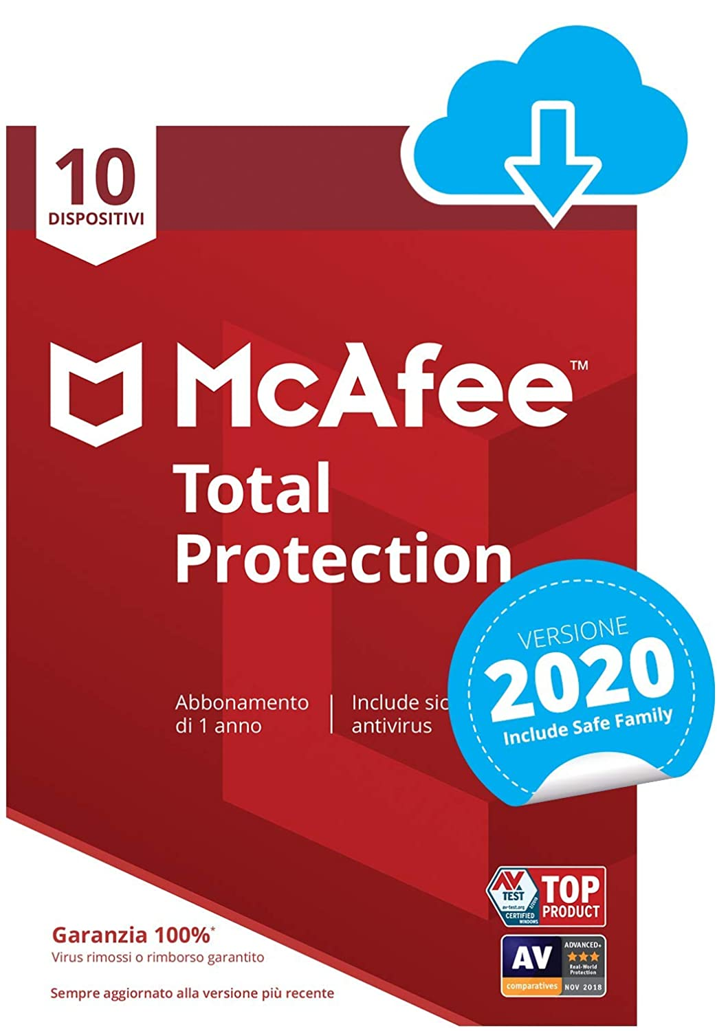 McAfee Total Protection 2020 | 10 Dispositivi | 1 Anno | PC/Mac/Smartphone/Tablet | Codice d'attivazione via email