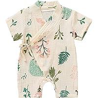 AmzBarley Newborn Baby Girl Kimono Collar Jumpsuit Summer Short Sleeve Printing Fashion Soft Comfortable Infant Clothes Short Romper Suit