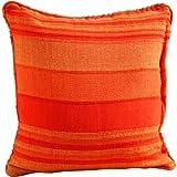 """Homescapes Cojín de Lujo para Sofá 45 x 45 cm de color Naranja en algodón de la colección """"Rayas"""""""