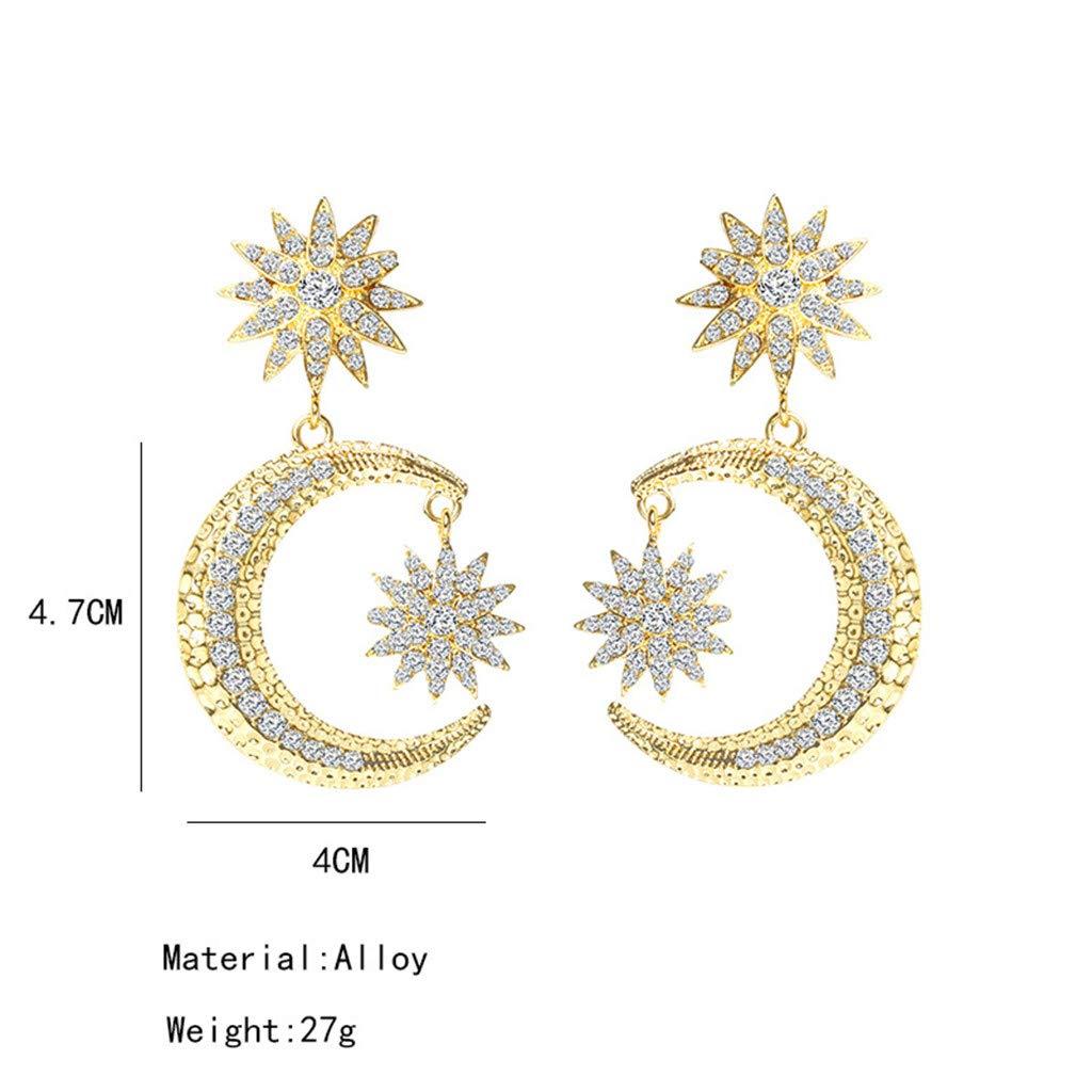 MoonHome Long Star Moon Geometric Semicircle Rhinestone Female Earrings Jewelry