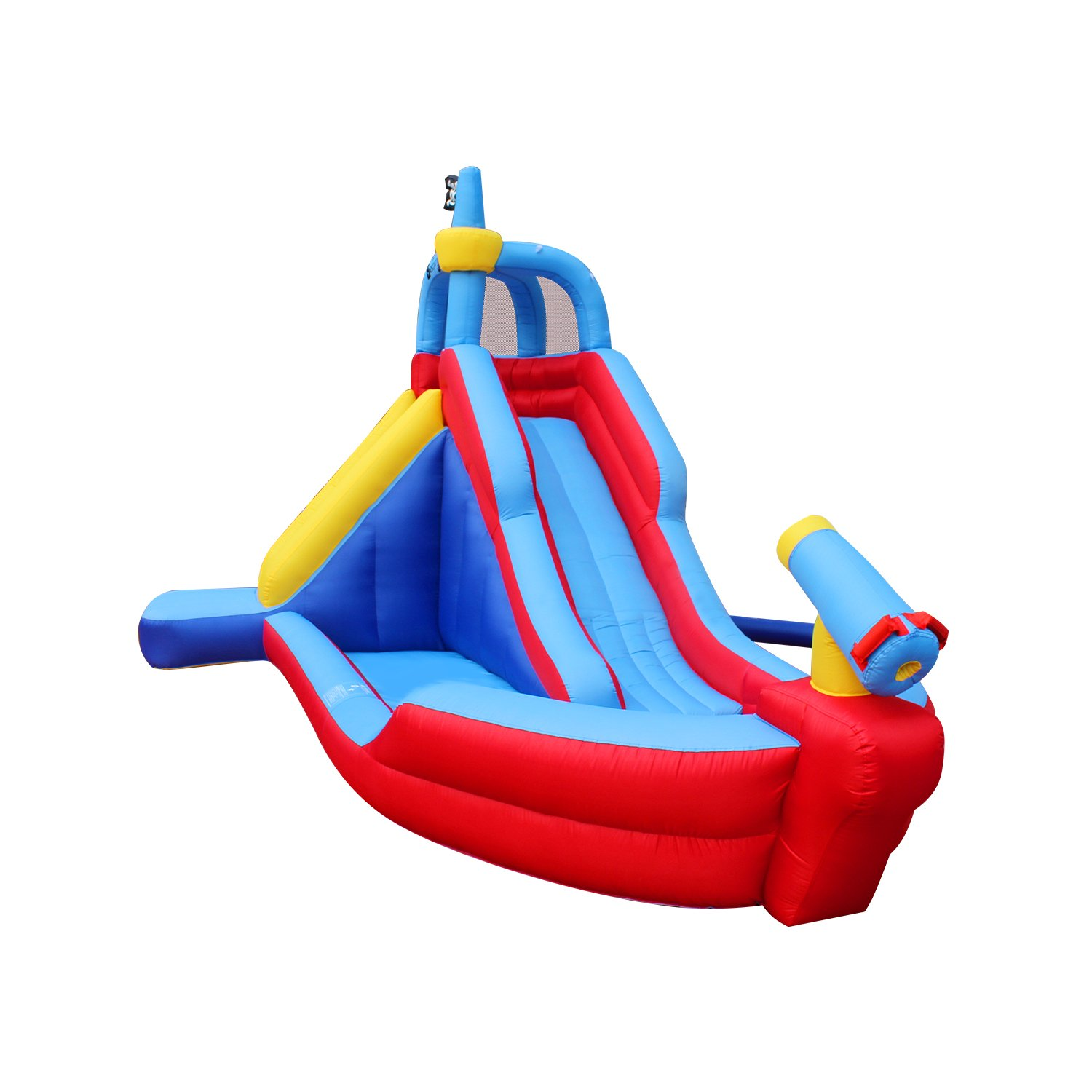 RETRO JUMP Inflatable Pirate Boat Bouncy Water Slide with Blower Climbing Wall Water Park for Kids by RETRO JUMP (Image #2)