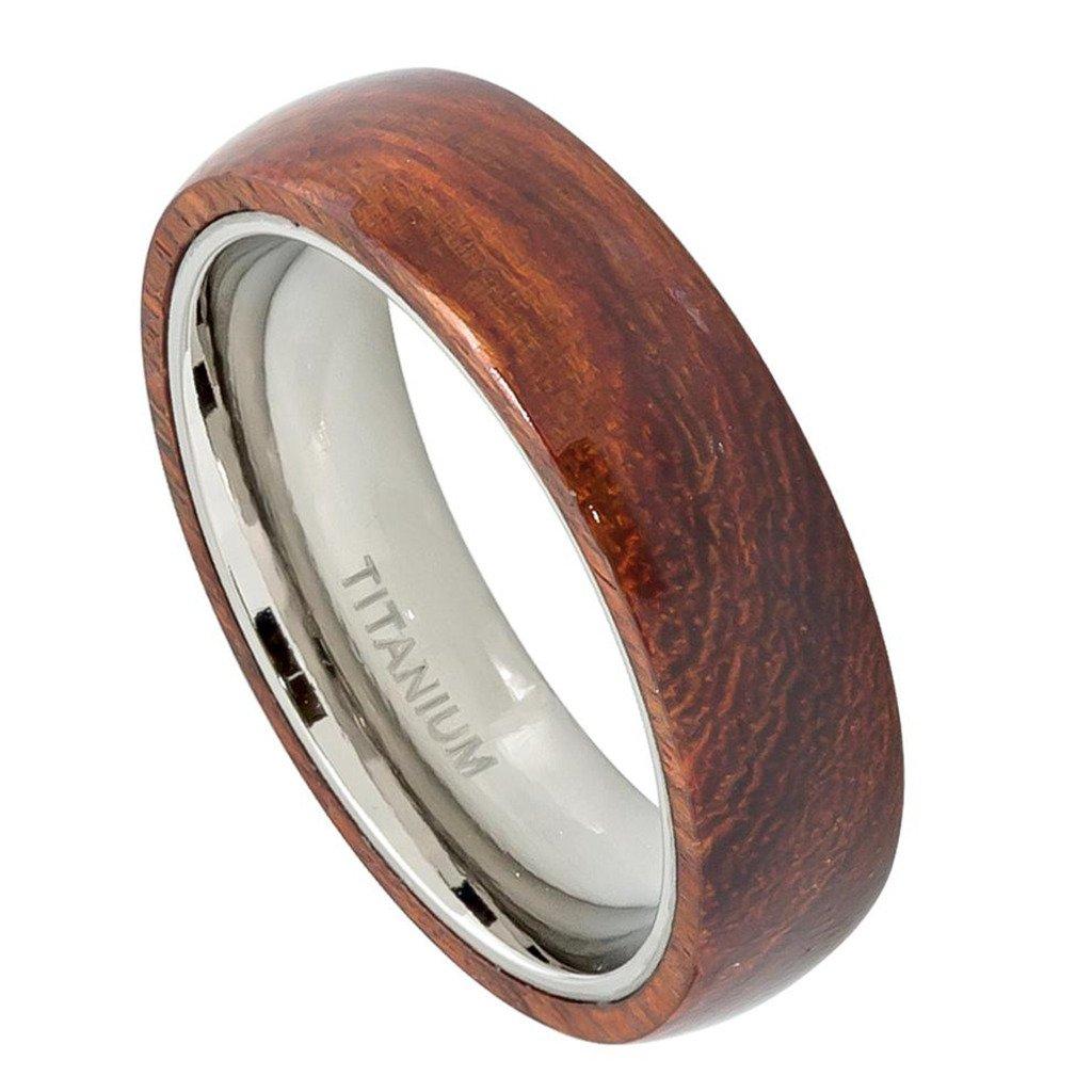 Men's 6mm Domed Titanium Ring with Hawaiian Koa Wood Inlay Titaniam Wedding Band Krezy Case CAAKTI496_5-$p