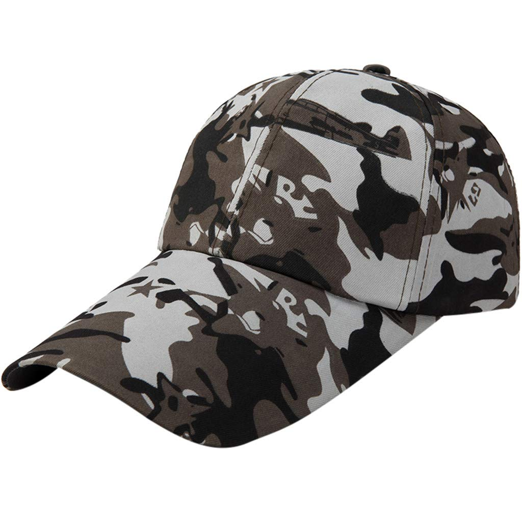 Quaanti Camouflage Baseball Cap Men Special Tactical Baseball Hat Boys Snapback Trucker Cap Classic Plain Work Sports Caps (E)