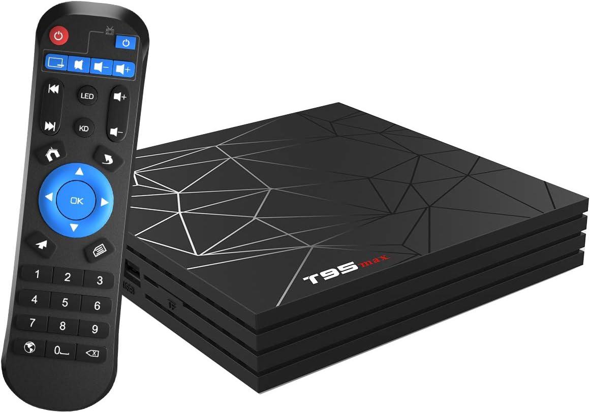 Android TV Box,T95 MAX Android 9.0 TV Box 4GB RAM/32GB ROM H6 Quad-Core Soporte 2.4Ghz WiFi 6K HDMI DLNA 3D Smart TV Box: Amazon.es: Electrónica