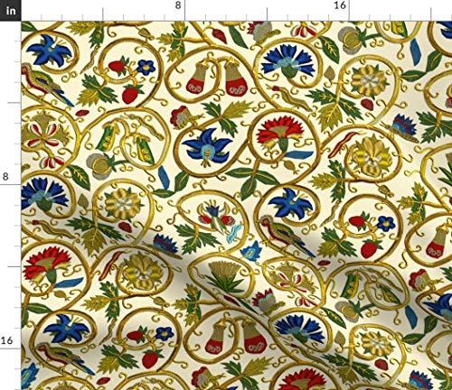 Bird Fabric - Swirl Goldwork Flower Floral Elizabethan Embroidery by Bonnie Phantasm Printed on Silky Faille Fabric by The Yard