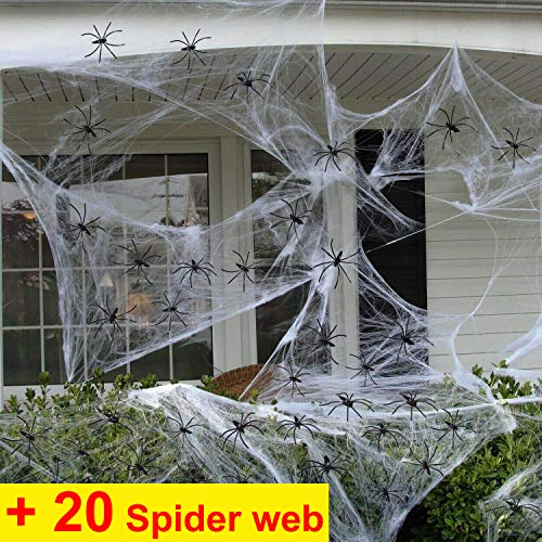 Halloween Decoration Clearance Spider Webs Halloween Decorations Stretch Spider Web,Giant Spider Webs+20 Fake Spiders,Halloween Cobwebs Haunted House,Scary/Spooky Mega Spider Webbing Props for Indoor Outdoor (spider webs -