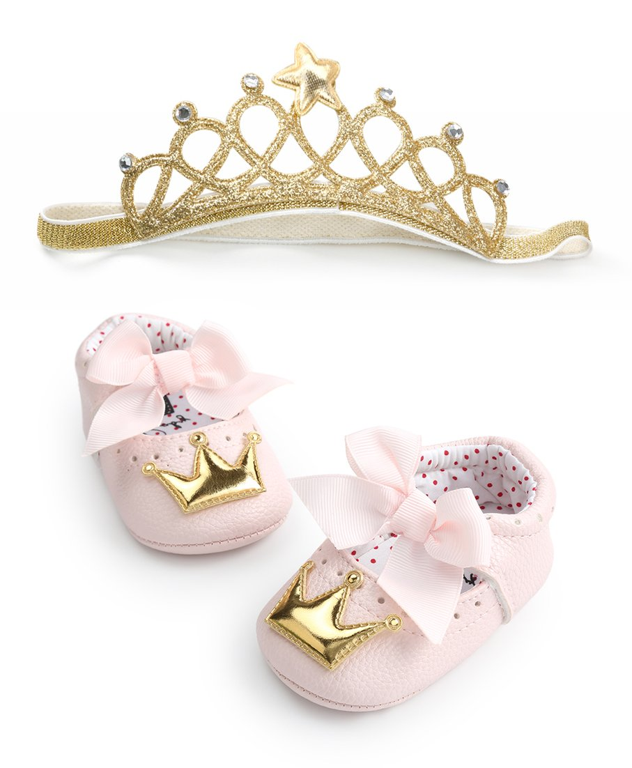 Infant Toddler Girls Birthday Shoes Soft Sole Anti-Slip Party Dress Shoes Prewalker with Crown Headband(13cm(12-18months),Style-4)