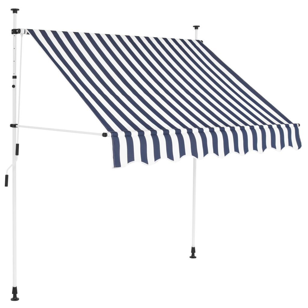Festnight Manual Awning Canopy Retractable Awning Sun Shade 150 cm Blue and White Stripes