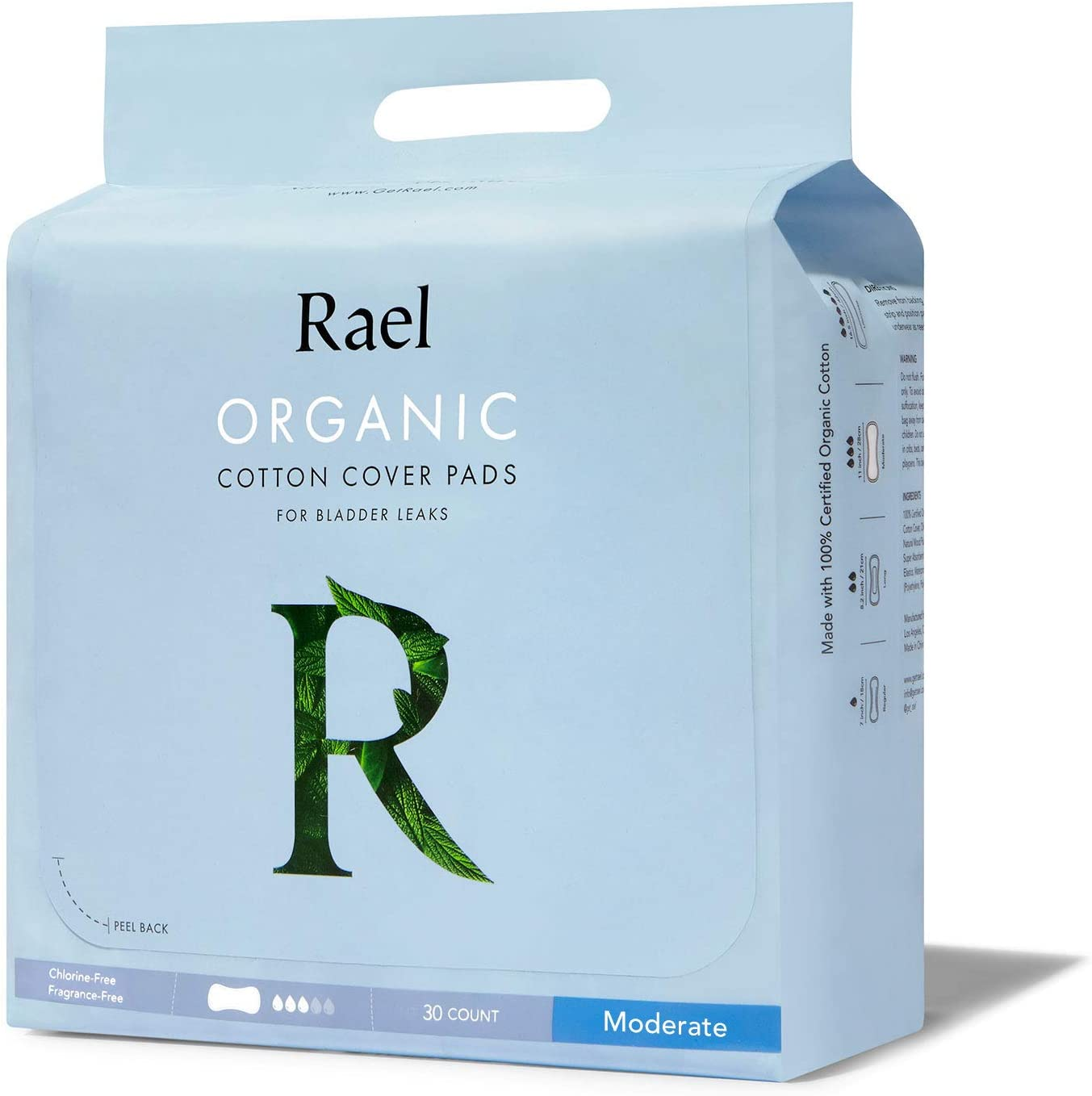 Rael Organic Incontinence Pads Moderate- Organic Bladder Control and Postpartum Pads, 4-Layer Core with Leak Guard Technology, Postpartum (30 Count)