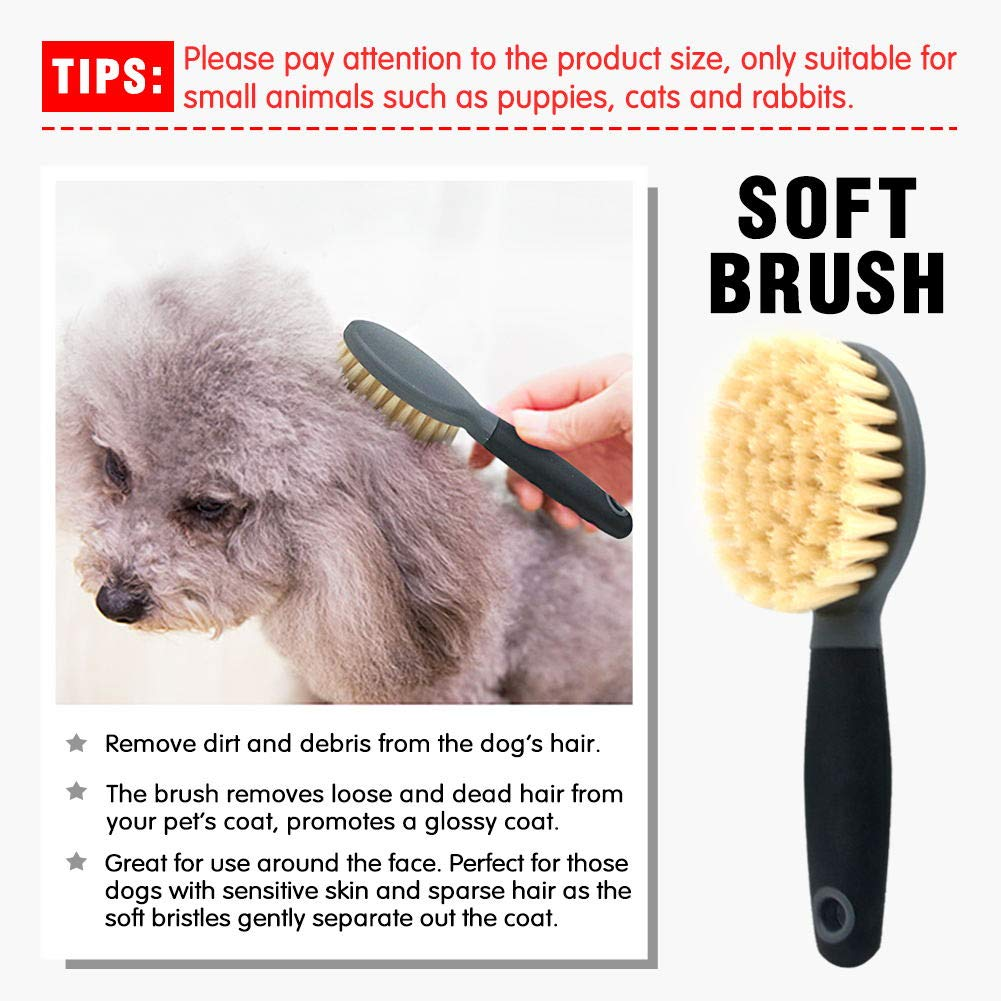 Puppy Grooming Kit Cat Flea Comb Brush, Soft Protection Salon Grooming Tools for Small Animals, Remove Dead Hair, Mats, Tangles, 4 Pcs