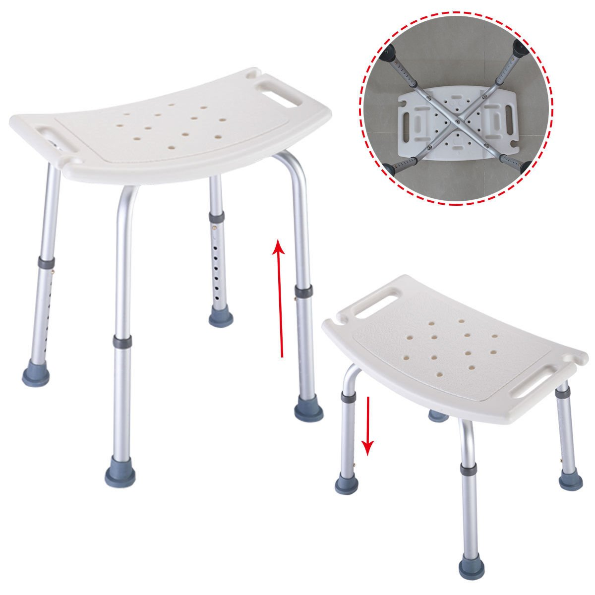Coldcedar Bath Bench 8 Height Adjustable Tool-Free Assembly Spa Shower Chair Medical Bath Bench Bathtub Stool Seat Lightweight White Shower Bench With Non-Slip Seat
