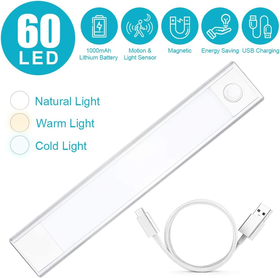 60 LED Motion Sensor Closet Light, Wireless USB Rechargeble Under Cabint Lighting,Magnetic Strip and Hook LED Light for Wardrobe,Kitchen,Hallway,Stairwell,Bathroom 2 Sensor Modes 3 Lighting Colors