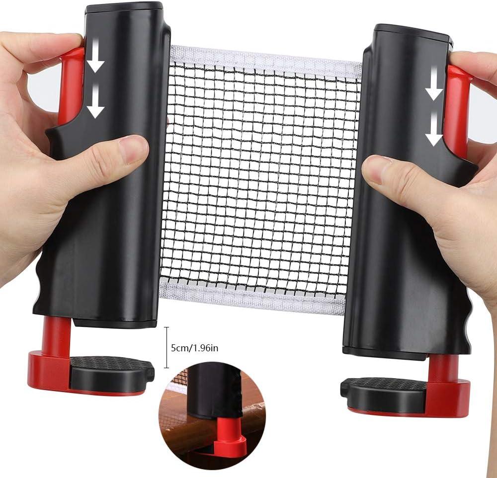 CHUER Red de Tenis de Mesa Longitud Ajustable 170 MAX Ping Pong Net para Entrenamiento Abrazaderas x 14.5cm Red Ajustable de Ping Pong Repuesto Port/átil Retr/áctil Table Tennis Net