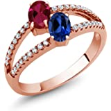 Gem Stone King 1.41 Ct Created Ruby Created Sapphire 18K Rose Gold Plated Silver Ring