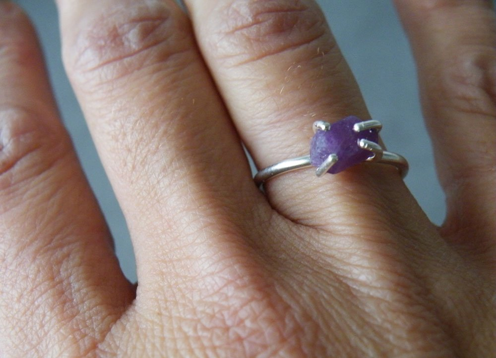 Rough Ruby Ring Untreated Ruby Rustic Engagement Ring 40th Anniversary Silver Prongs Natural Jewelry