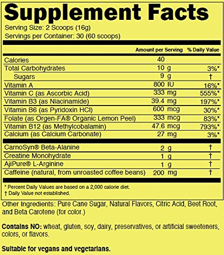 Fruit Punch Naked Energy – Fruit Punch Flavored All Natural Pre Workout Supplement for Men and Women, Vegan Friendly, No Added Sweeteners, Colors or Flavors – 30 Servings by NAKED nutrition (Image #3)