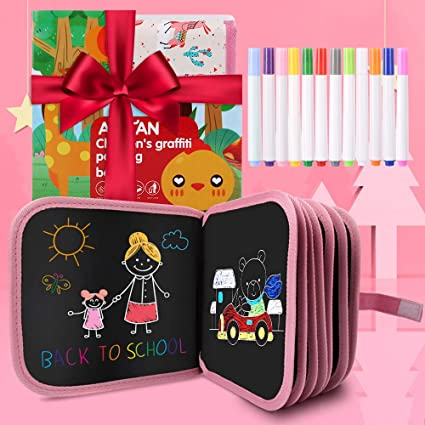 Bear Portable Erasable Drawing Pad Toys Magna Double-Sided Reuse PP Portable Writing Board 12 Colored Erasable Pens 8x8 Yellow for Kids Toddlers Boys Girls Gift Age 2 3 4 5 6 7 8 Year Old