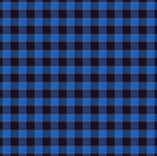 18 x 12 Buffalo Plaid HTV Blue Black Check Printed Heat Transfer Vinyl Craft Pattern (Blue Cameo Check)