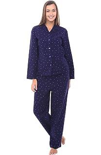 Alexander Del Rossa Womens Polka Dot Flannel Pajamas, Long Cotton Pj Set