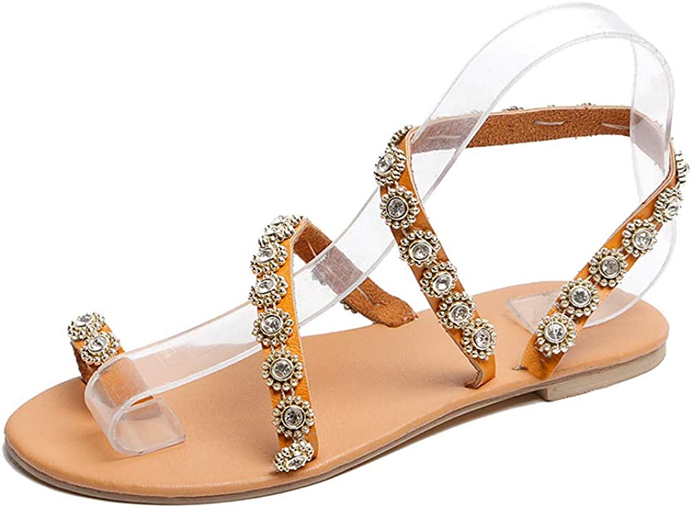 EH-LIFE Women Flat Sandals Shoes Bohemia Flower Crystal Casual Shoes Plus Size EU 35