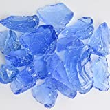 My Fireplace Glass - 50 Pound Fire Glass with Fire Pit Glass - Small, 1/4- 1/2 Inch, Crystal Blue