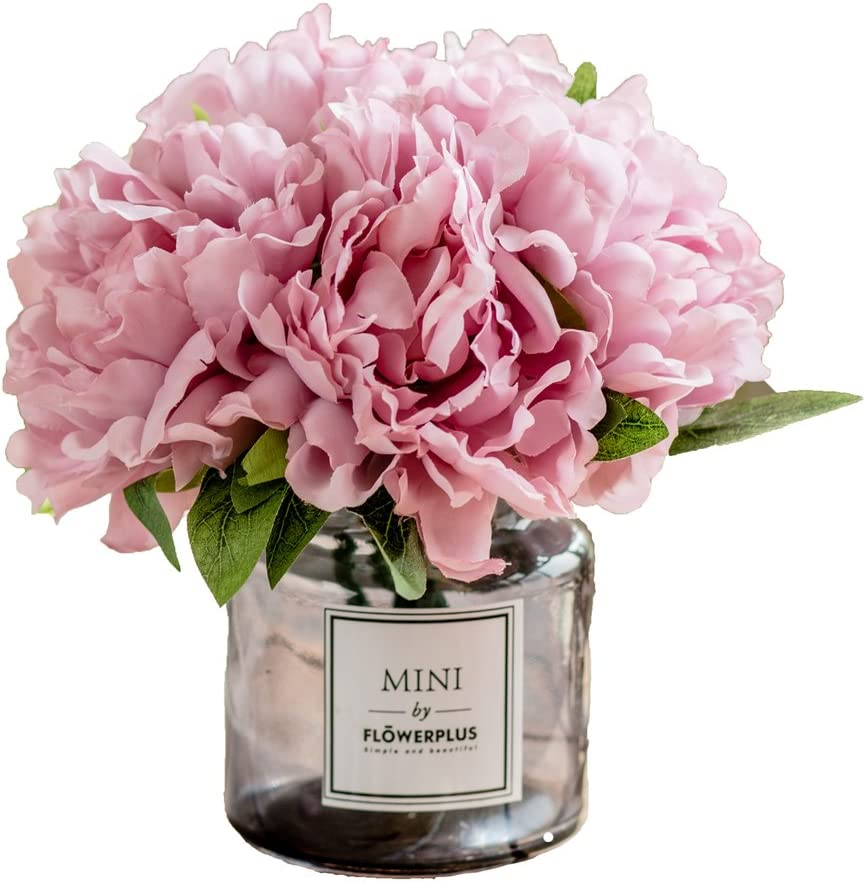 Amazon Com Billibobbi Artificial Flowers With Vase Fake Peony Flowers In Gray Vase Faux Flower Arrangements For Home Decor Light Lilac Small Home Kitchen