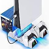 Suporte para PS5 com ventoinha de refrigeração e estação de carregamento de controlador duplo para console PlayStation 5 PS5,