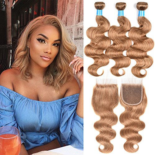 Brazilian-Human-Virgin-Hair-Honey-Blonde-Color-Body-Wave-Hair-Extension-3-Bundles-with-Lace-Closure-27-Human-Hair14-16-1812closure