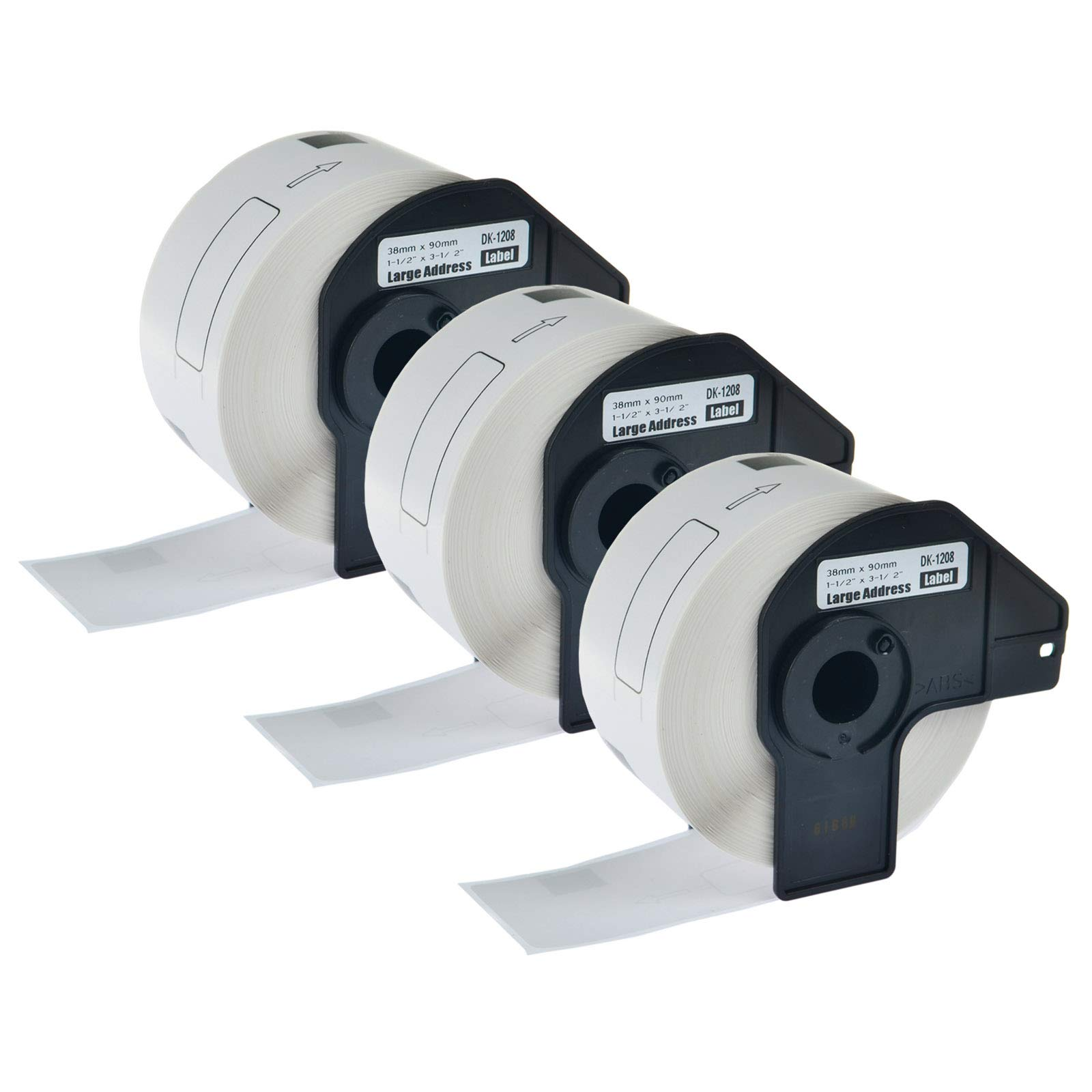 KCYMTONER 3 Rolls Compatible for Brother DK-1208 White Continuous Length Paper Tape Labels,1-1/2 Inches (38mm) by 90mm (3-1/2''), use in P-Touch QL-500 QL-710W QL-1050 QL-1060N Series Label Maker