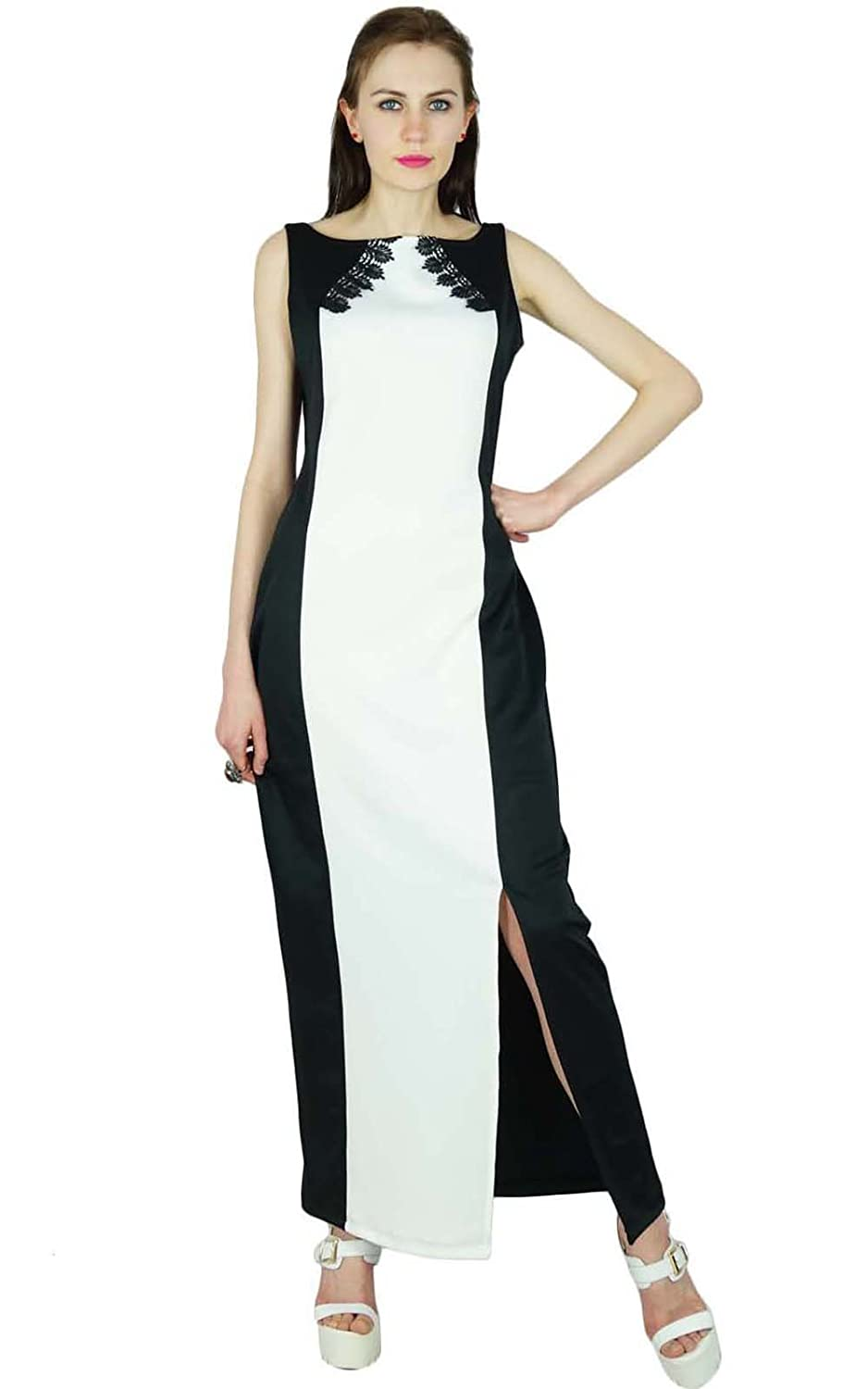 Bimba Women Long Maxi Dress Spandex Gown With Slit & Lace Casual Custom Clothing