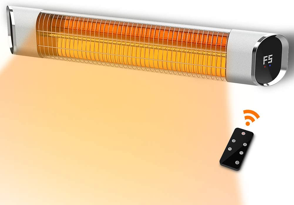 PATIOBOSS Electric Infrared Patio Heater Outdoor Wall-Mounted Gold Tube Quite Heat with Remote Control, 24-Hour Timer Auto Shut Off, 9 Heating Option for Room, Garage ,Courtyard