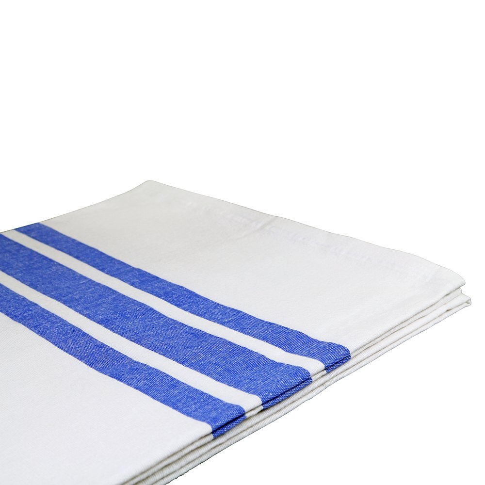 Sigmatex BK70902BLSTR Healthcare Bath Blanket, 100% Cotton, 70'' Width 90'' Length, 2.0 lb/ea., White With Blue Stripes (24 ea)